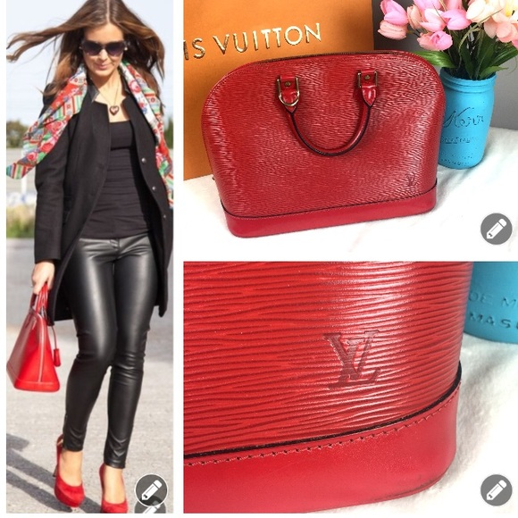 4f4a718531d Louis Vuitton Handbags - Authentic Louis Vuitton 🍒 Red Epi Alma Bag!